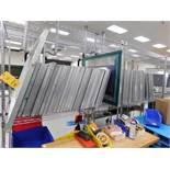LOT: (65) 31 in. x 24 in. (mostly) Aluminum Silk Screen Frames, with (3) Metro Racks