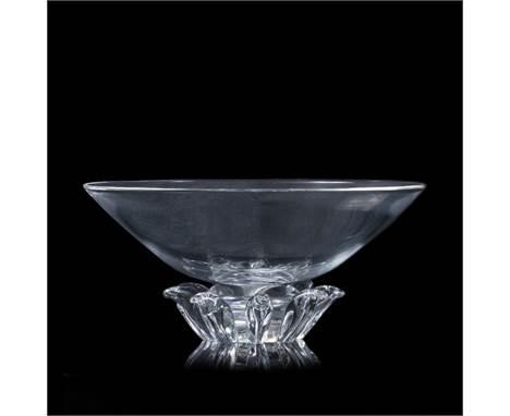 Donald Pollard for Steuben Glass bowl pedestal form etched signature 33cm diameter.