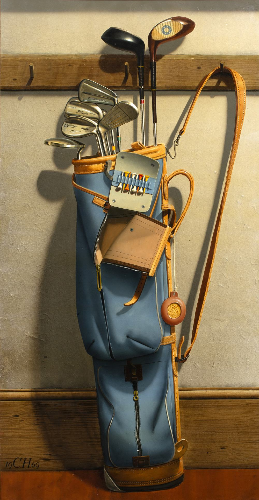 Lot 690 - Frederick Clifford Harrison (1901-1984) Golf clubs, 1969 monogrammed and dated (lower left) oil on