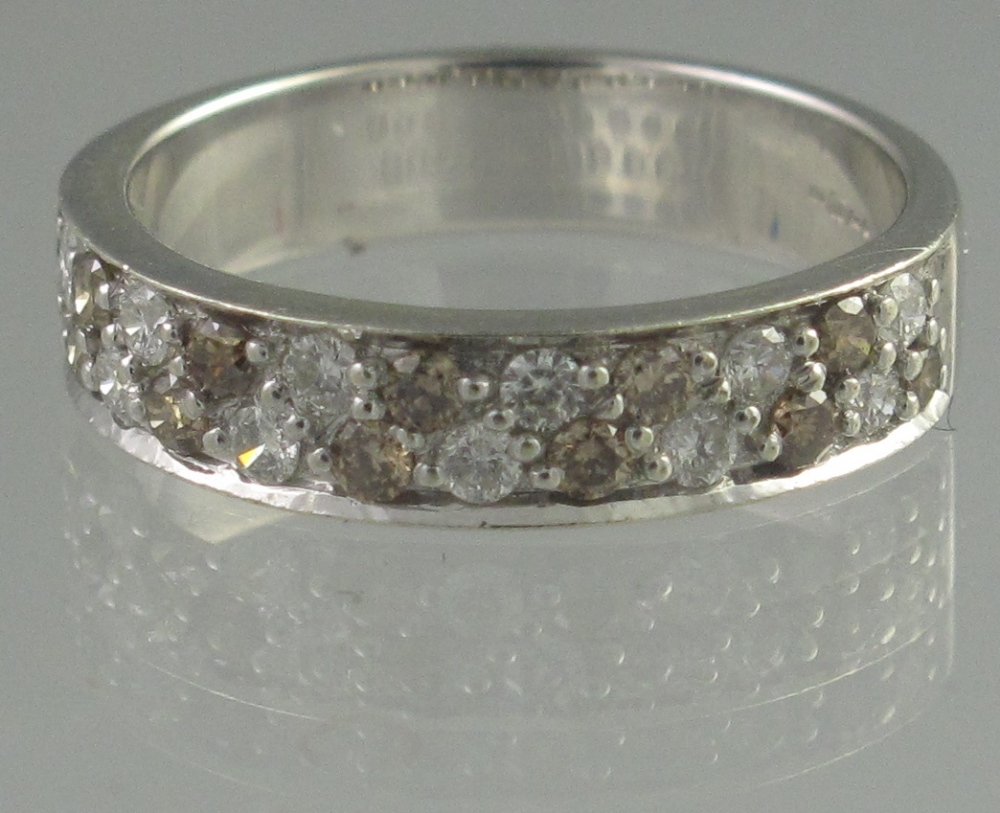 Lot 327 - 9CT WHITE GOLD HALF ETERNITY STYLE RING