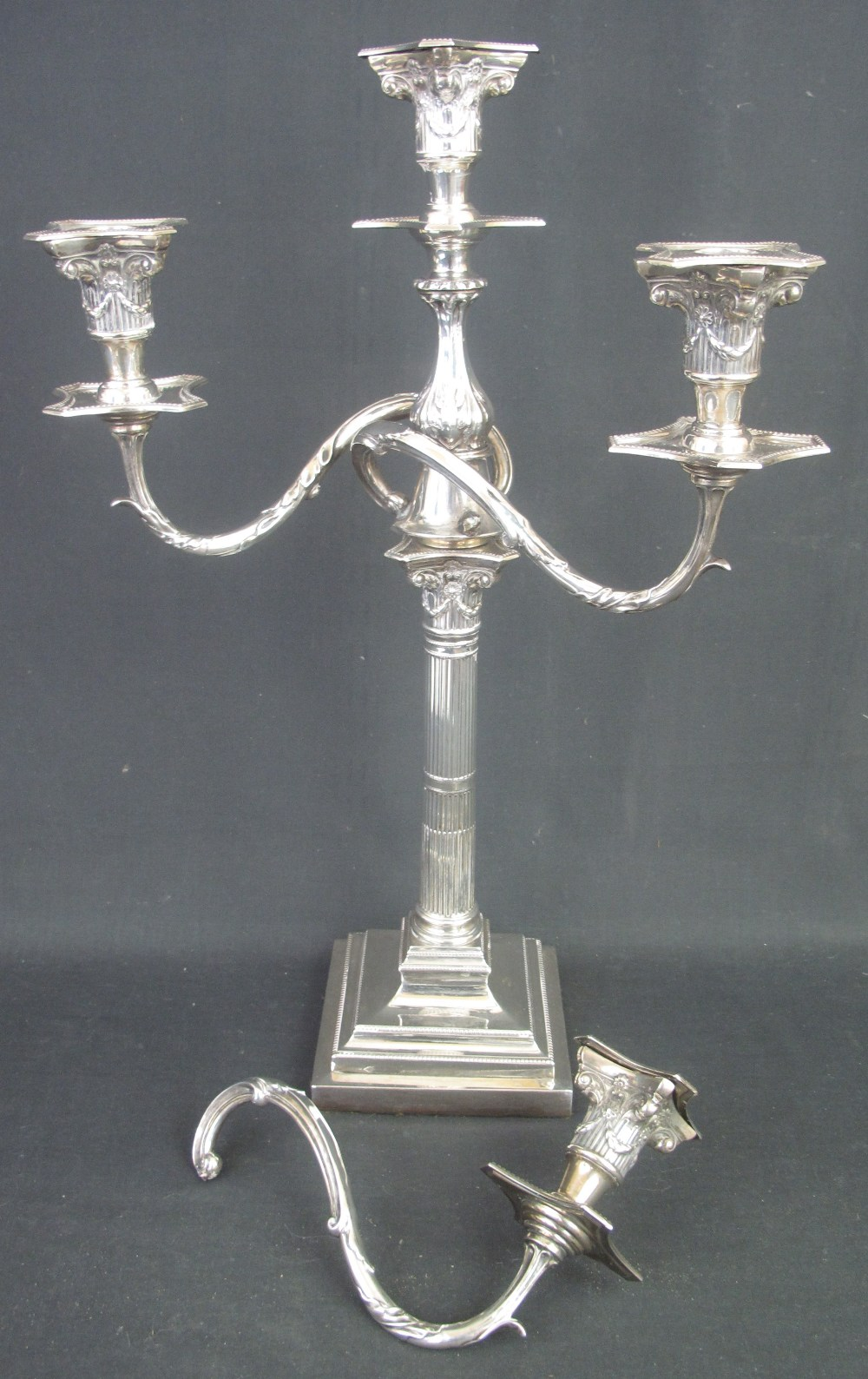 Lot 287 - SILVER THREE BRANCH GEORGIAN STYLE CANDE
