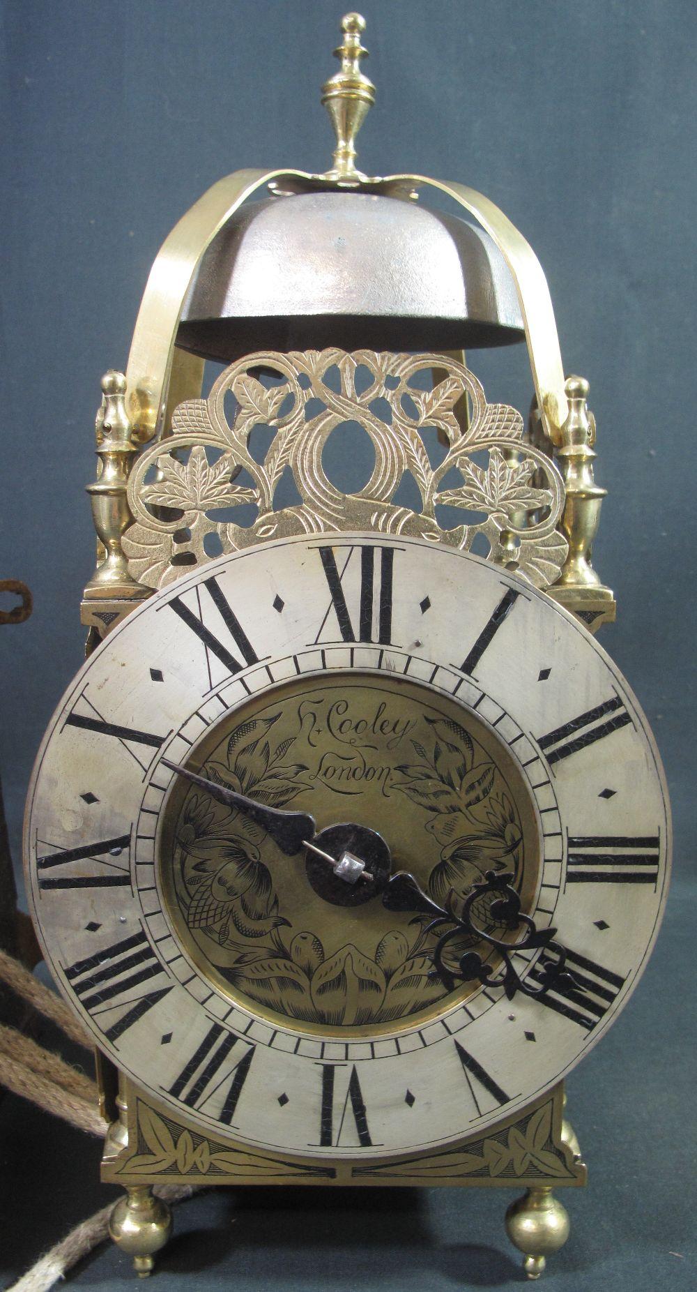 17TH CENTURY STYLE BRASS LANTERN CLOCK t