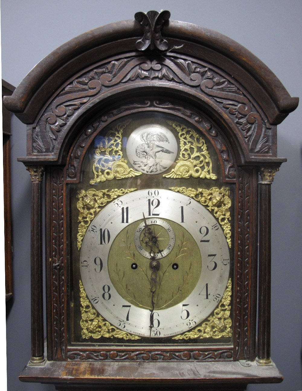 Lot 3 - VICTORIAN OAK TWO TRAIN LONGCASE CLOCK t