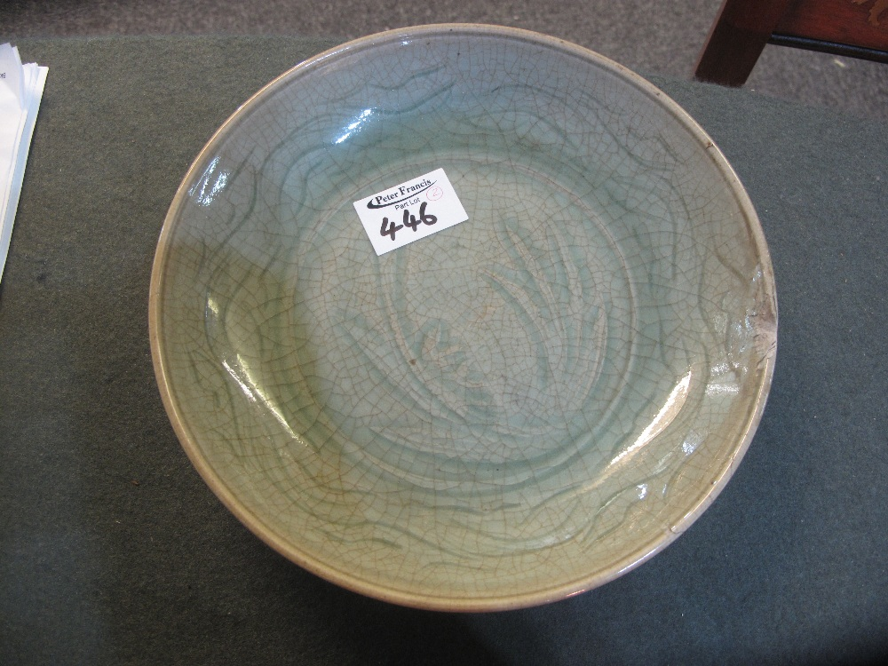 Lot 446 - PAIR OF THAI CELADON GLAZED SI SATCHANAL