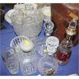 """Five glass decanters, a cut glass bowl, 9"""" high, vases and two silver plated decanter labels"""