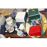 "A studio pottery platter, 16"" wide, a square blue glass dish, a Halcyon Days trinket box, a quantity"