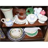"""A Denby green glazed vase, 9"""" high, a jelly mould, various plates, including leaf plates, and"""