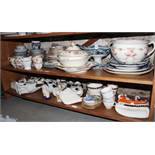 Three pairs of Staffordshire dogs, a Taunton wash jug, bowl and basin, platters teacups, saucers and