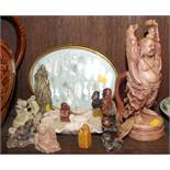 Six soapstone figures, a soapstone brush wash, mother-of-pearl playing counters, in gilt frame,