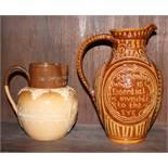A Doulton Lambeth commemorative relief decorated jug and an ale jug