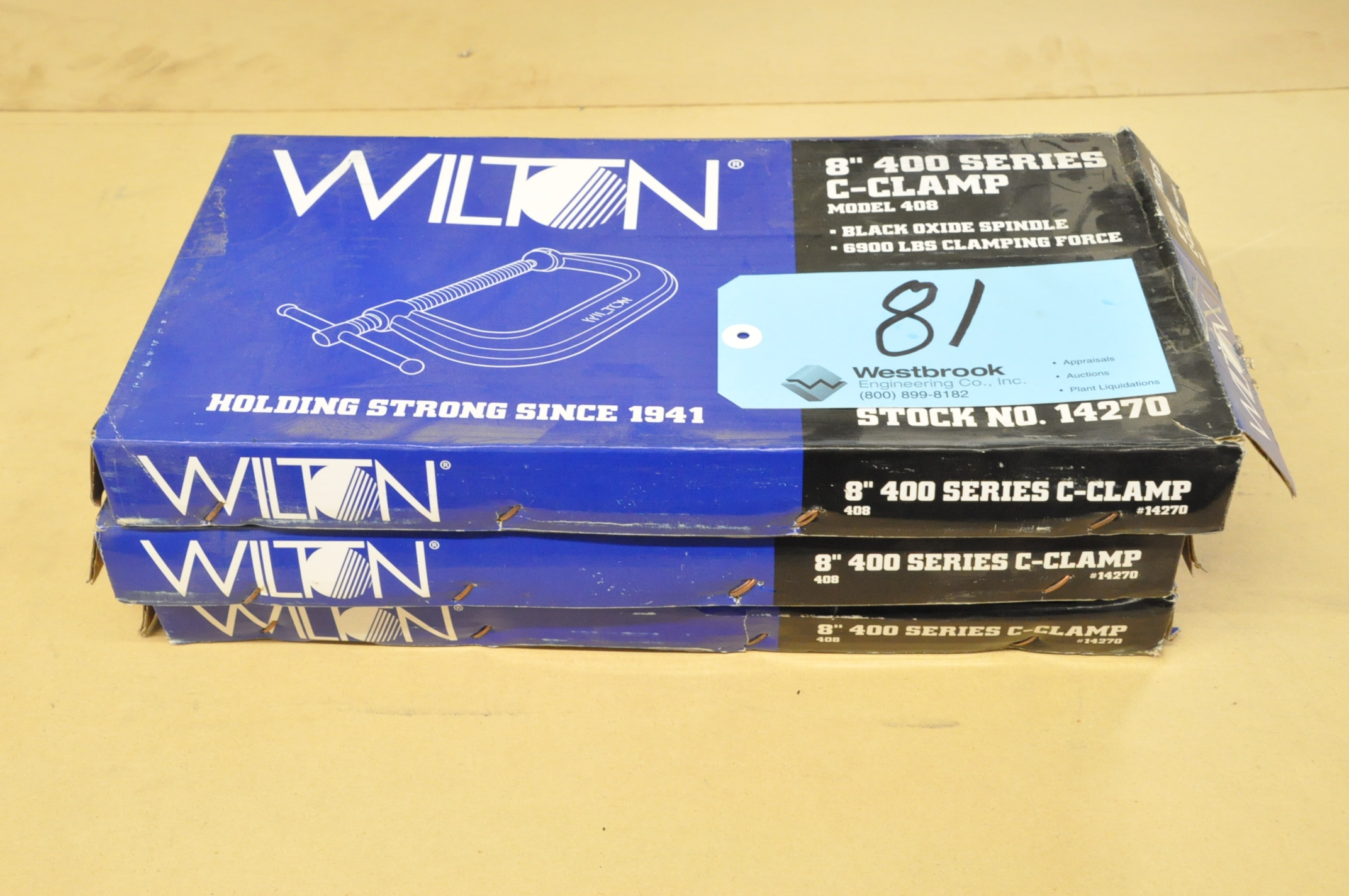 "Lot-(2) Wilton No. 408, 8"" C-Clamps, (Packaged)"