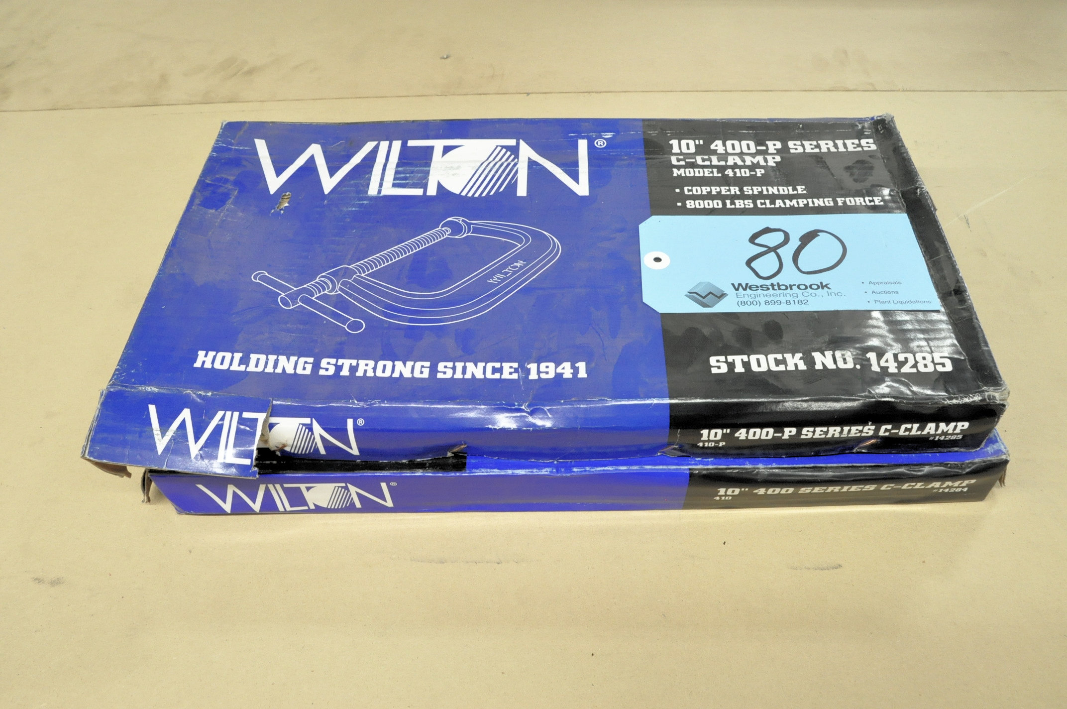 """Lot-(1) Wilton No. 410 and (1) No. 410-P, 10"""" C-Clamps, (Packaged)"""