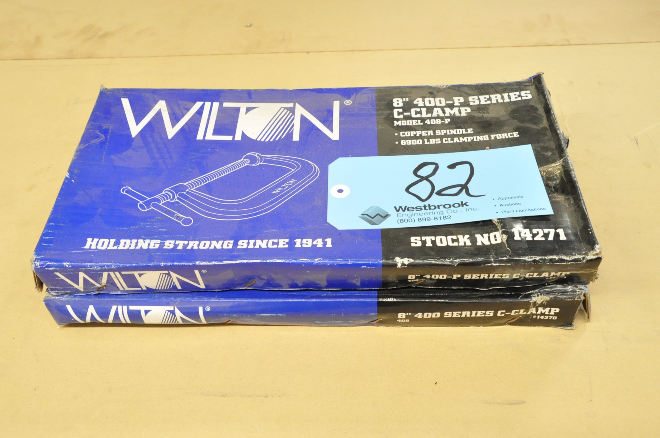 """Lot-(2) Wilton No. 408, 8"""" C-Clamps, (Packaged)"""
