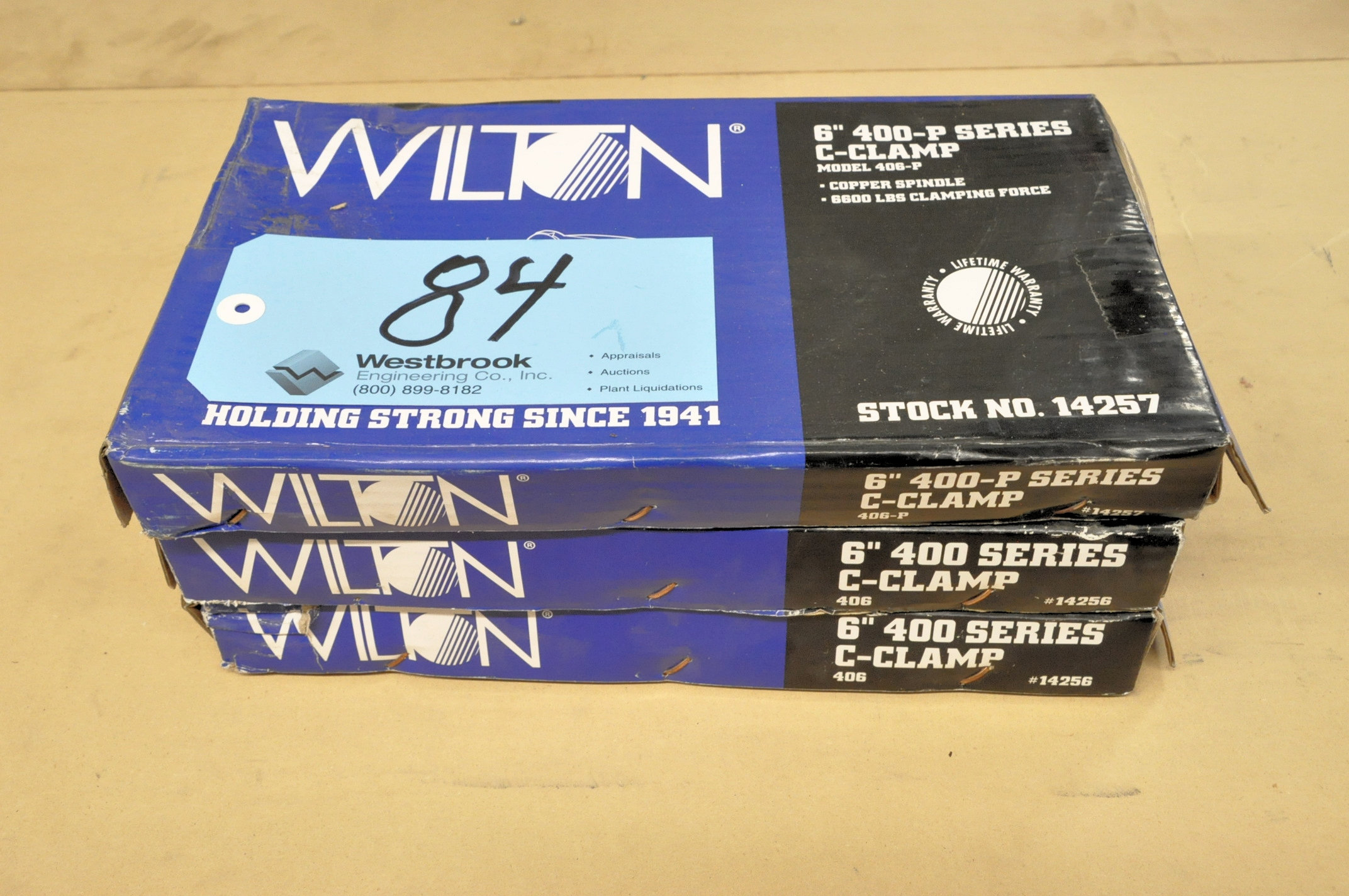 """Lot-(2) Wilton No. 406 and (1) No. 406-P, 6"""" C-Clamps, (Packaged)"""