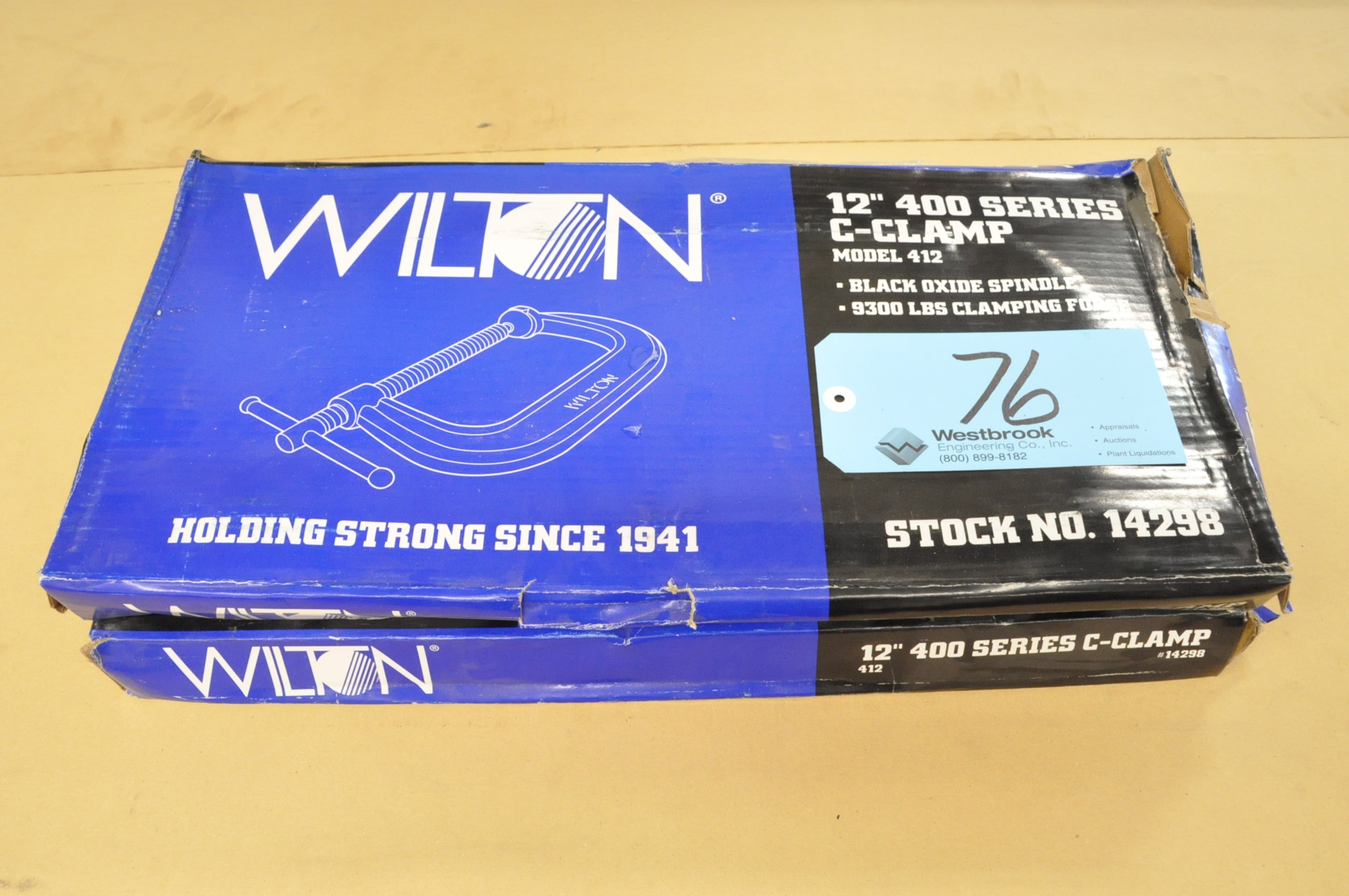 "Lot-(2) Wilton No. 412, 12"" C-Clamps, (Packaged)"