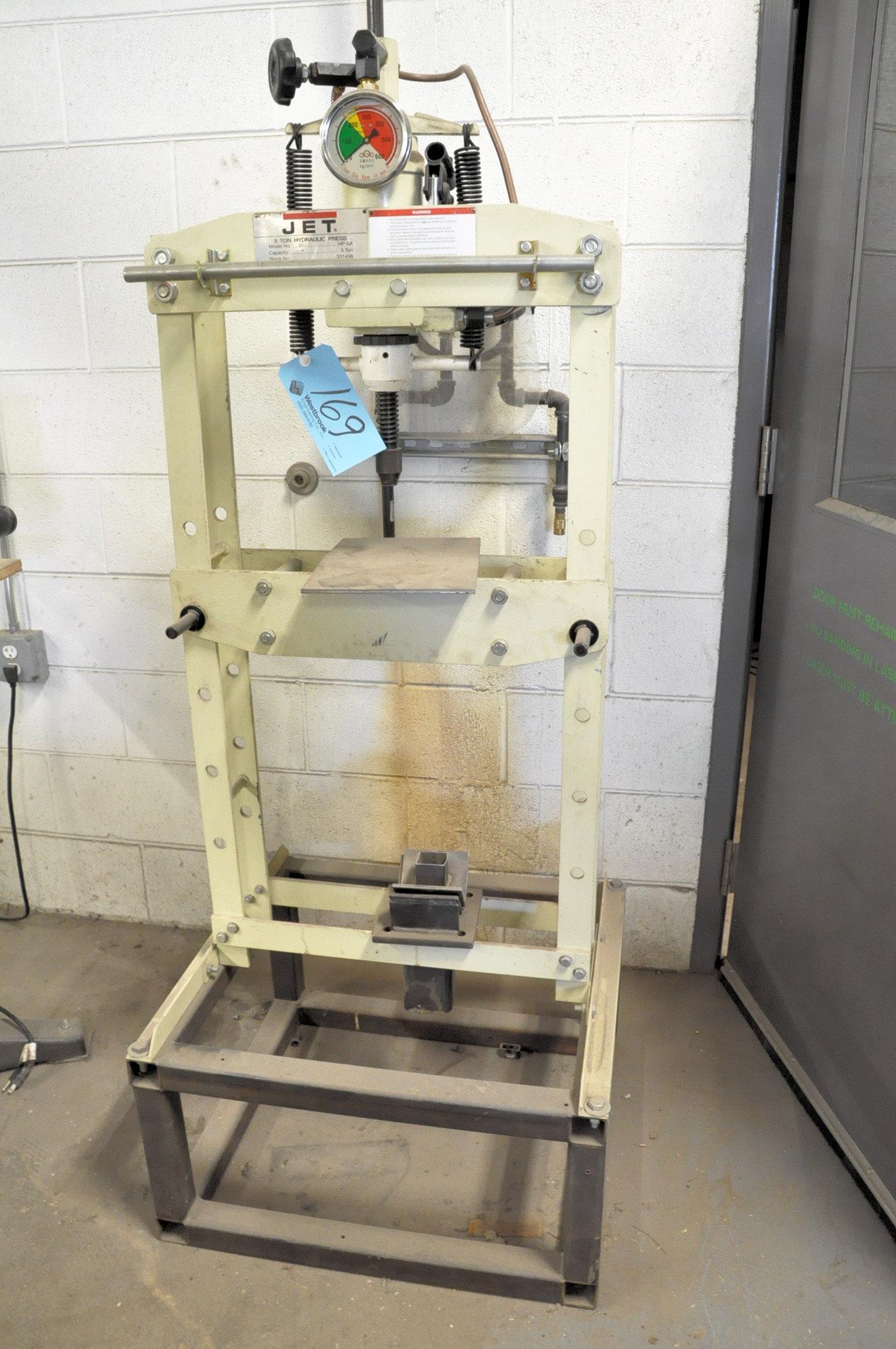 Jet No. HP-5A, 5-Ton Capacity Hydraulic Down Acting H-Frame Shop Press