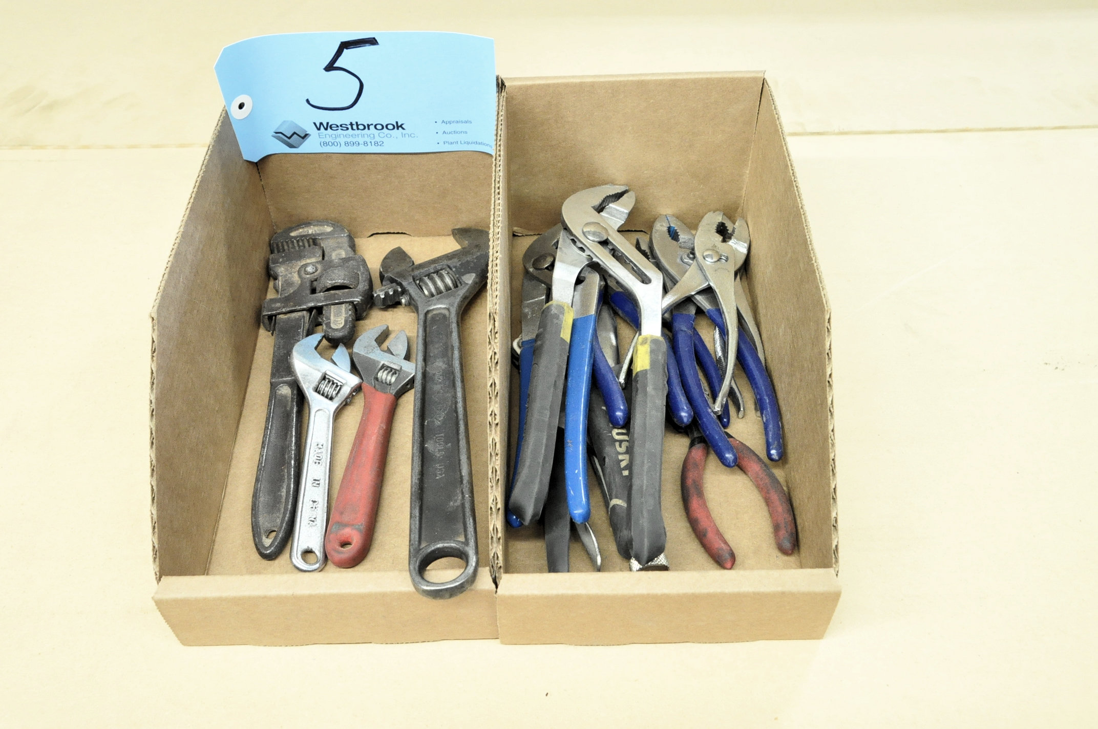 Lot-(1) Pipe Wrench, (3) Adjustable Wrenches and Pliers in (2) Boxes