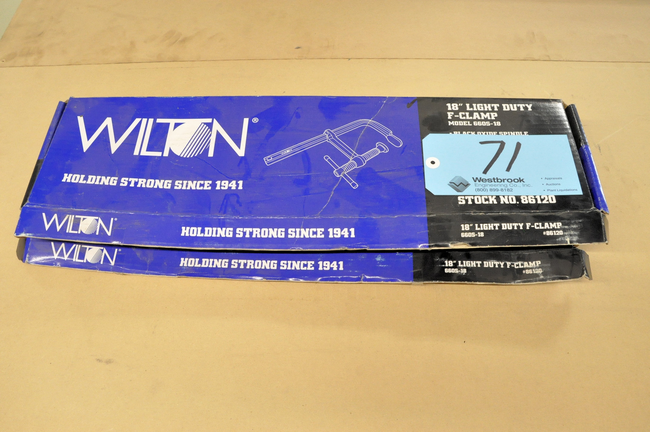"Lot-(2) Wilton No. 660S-18, 18"" F-Clamps, (Packaged)"