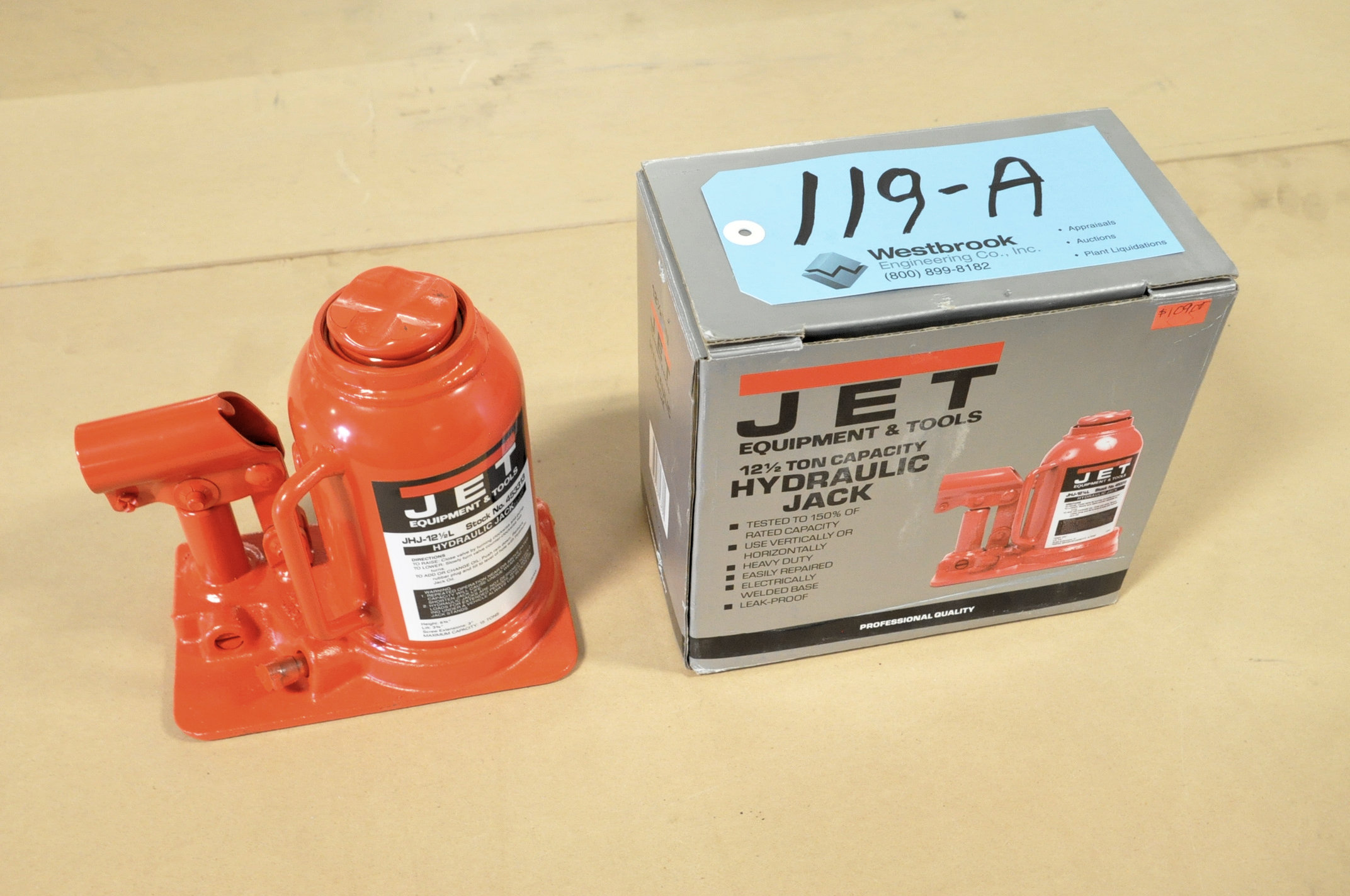 Jet Stock No. 453313, 12 1/2-Ton Capacity Hydraulic Bottle Jack, (Packaged)