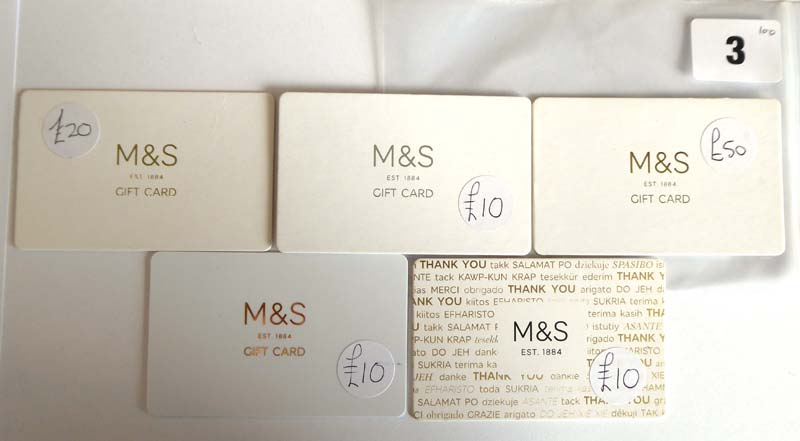 Lot 3 - Marks & Spencer (x5) - Total face value £100