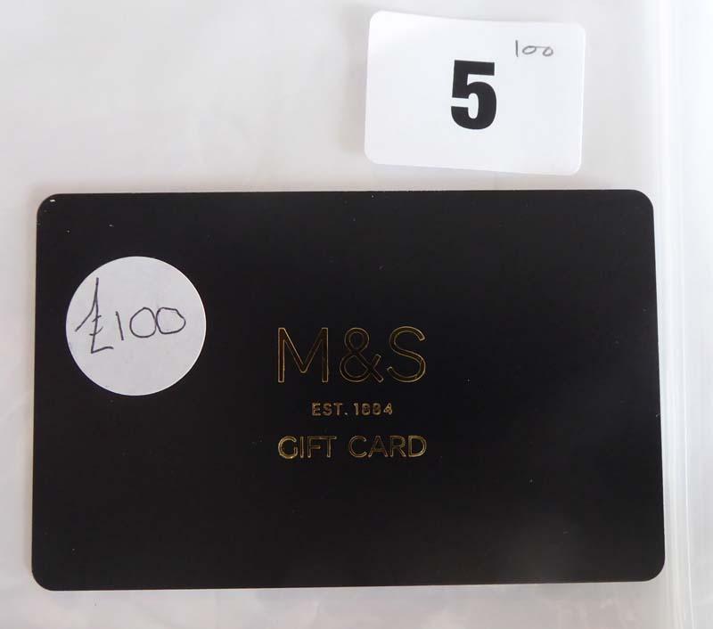 Lot 5 - Marks & Spencer (x1) - Total face value £100