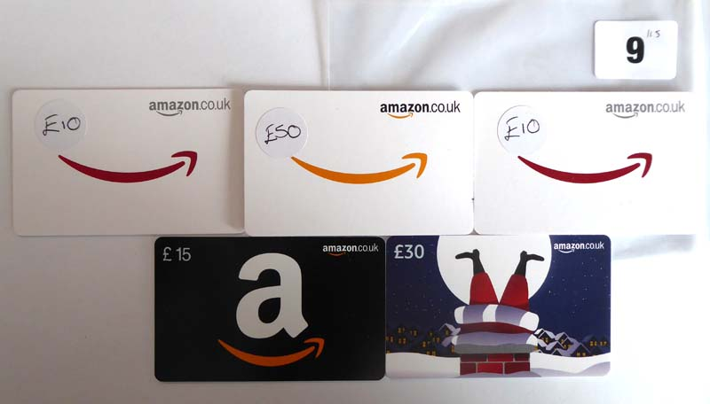 Lot 9 - Amazon (x5) - Total face value £115