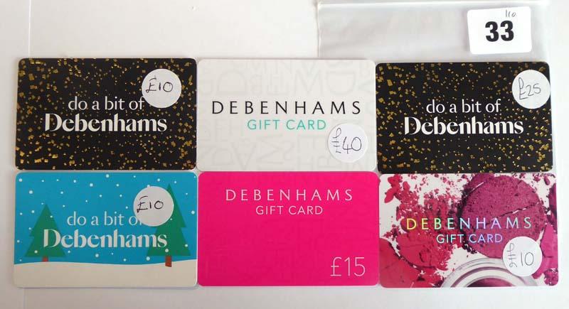 Lot 33 - Debenhams (x6) - Total face value £110
