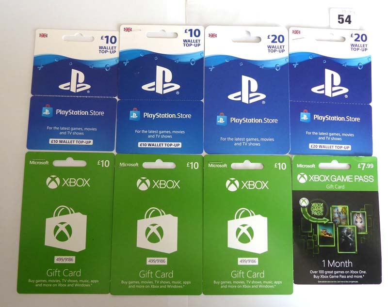 Lot 54 - XBox Live (x8) - Total face value £97.99
