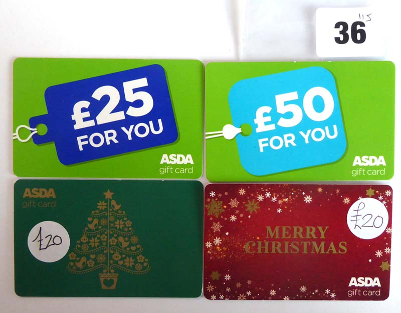 Lot 36 - Asda (x4) - Total face value £115