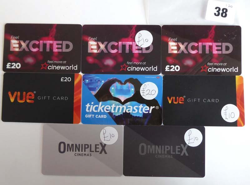 Lot 38 - Cineworld Cinema (x8) - Total face value £120