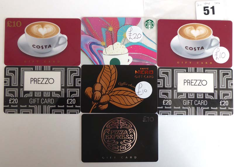 Lot 51 - Cafe Nero (x7) - Total face value £100