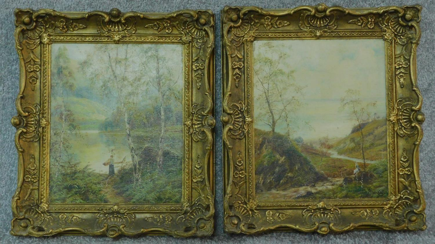 A pair of gilt framed oil paintings on canvas, Scottish landscapes, signed Theo Hines, signature and