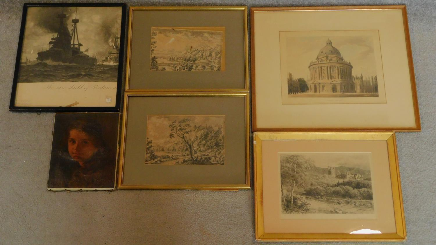 A miscellaneous collection of five 18th century and later framed and glazed prints and an unframed