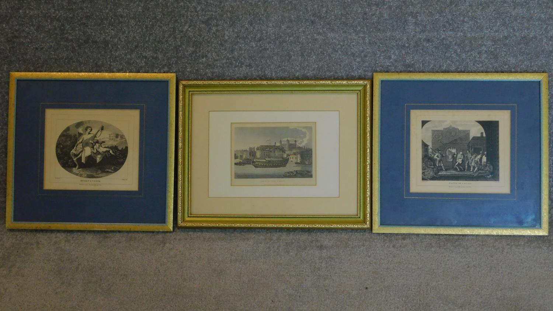 Three various framed and glazed prints. 34x32cm