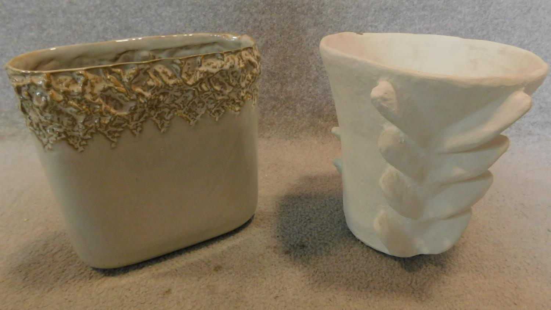 Two ceramic art pottery vases. H.25