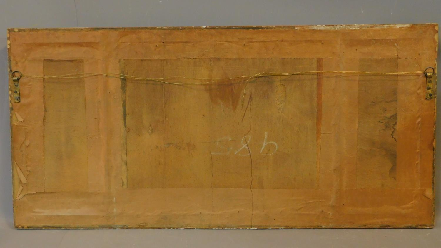 A 19th century gilt framed triple section overmantel mirror. 112x53cm - Image 3 of 3