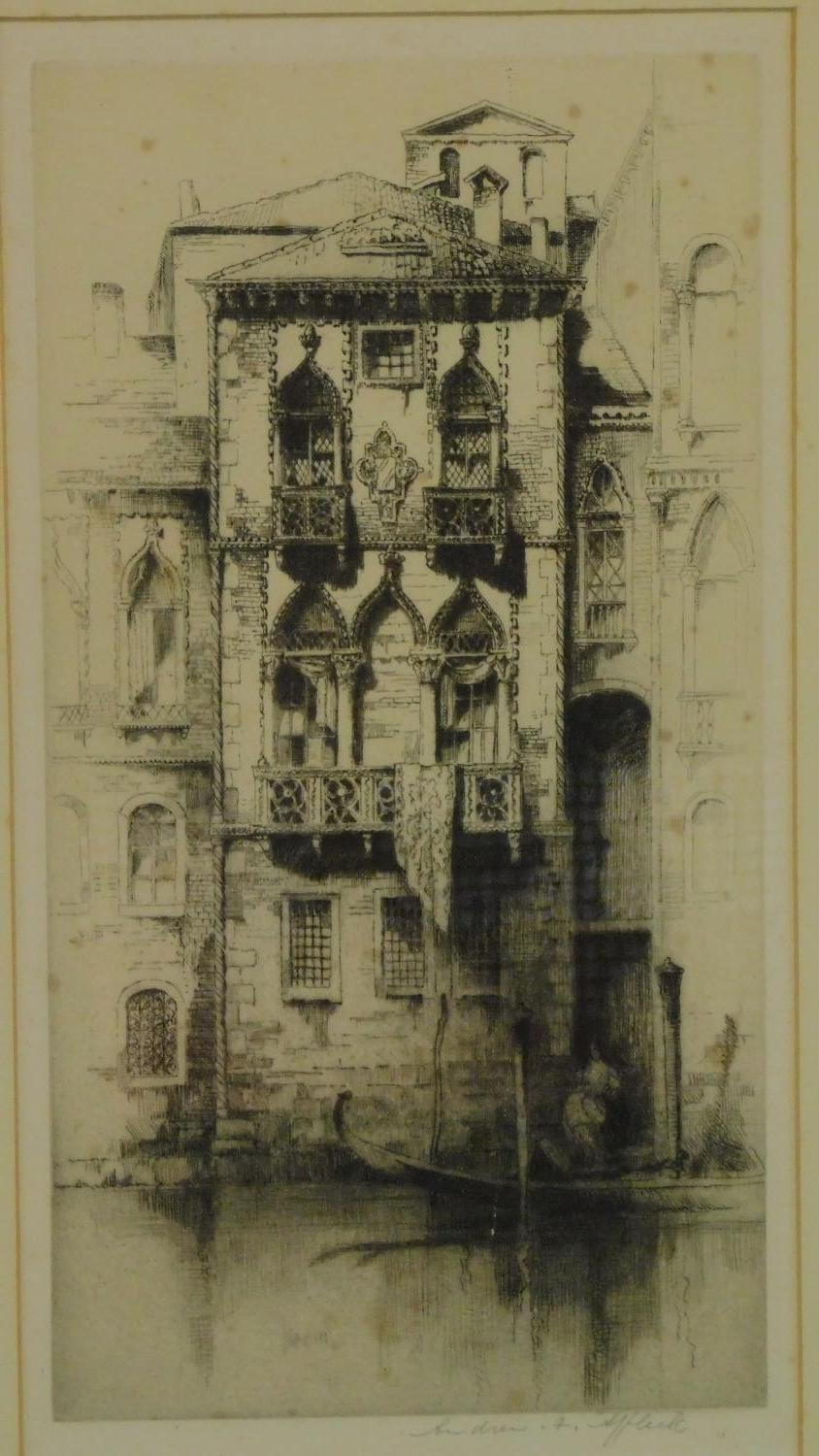 A 19th century signed lithograph of a church interior, another of a Venice canal and a 19th - Image 2 of 9