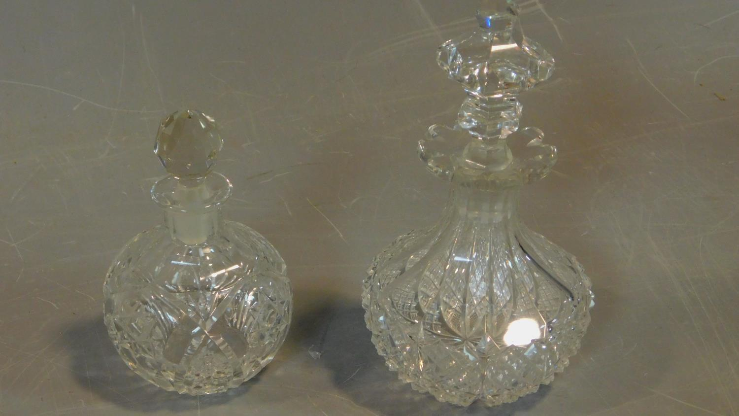 A pair of cut crystal scent bottles with gilt metal collars and a collection of other similar items. - Image 3 of 4