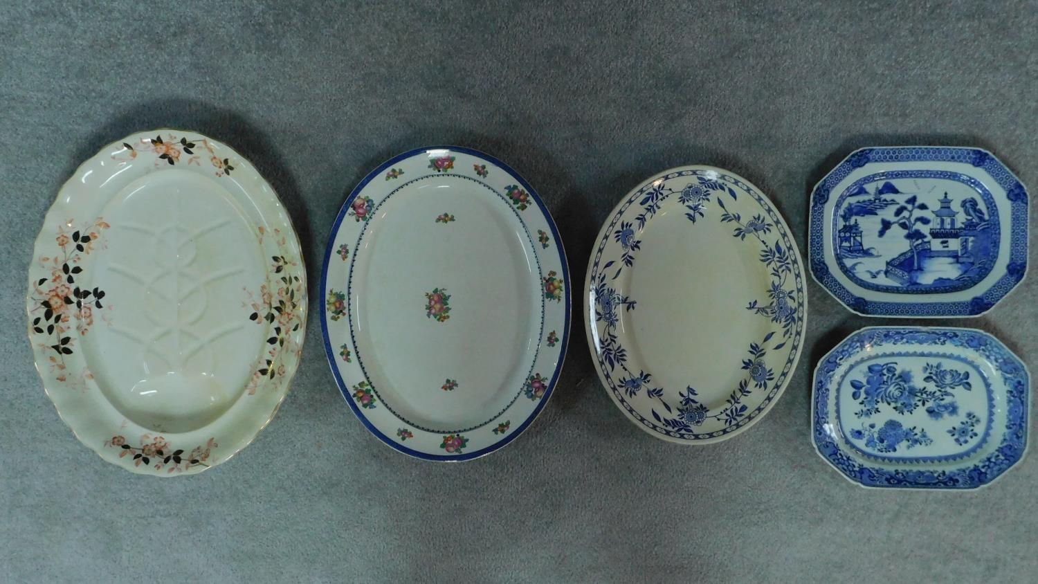 Various 19th century and later serving plates. 51x41cm (largest)