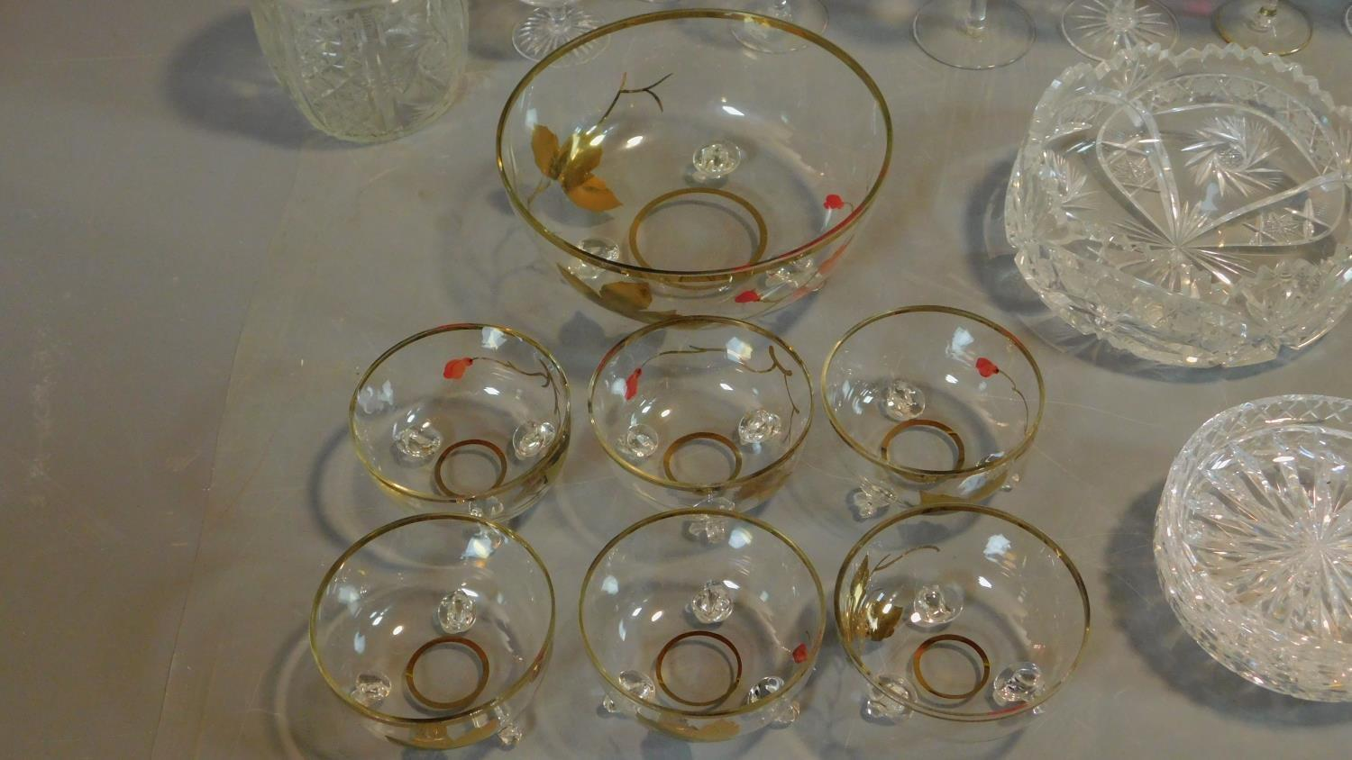 A vintage painted decorated dessert set and a collection of miscellaneous glass items. - Image 3 of 7