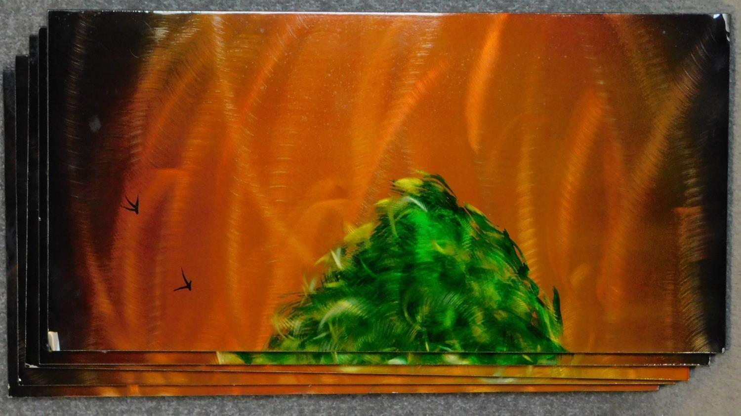 A set of five decorative lacquered panels, together depicting a green tree against an orange sky. - Image 4 of 4