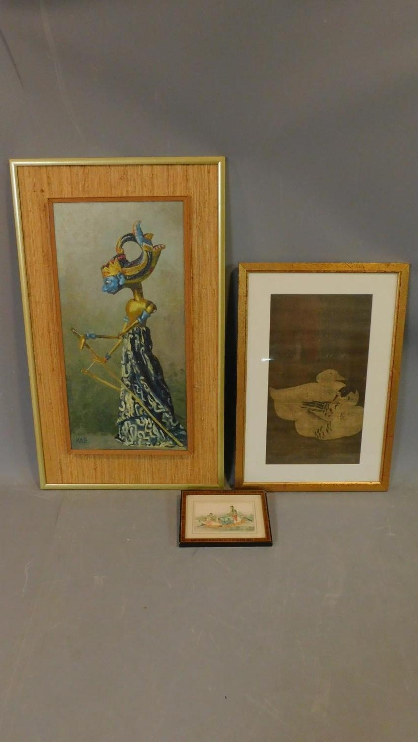 A framed oil on board, puppet of Lord Krishna a framed Chinese screen print of ducks and a miniature