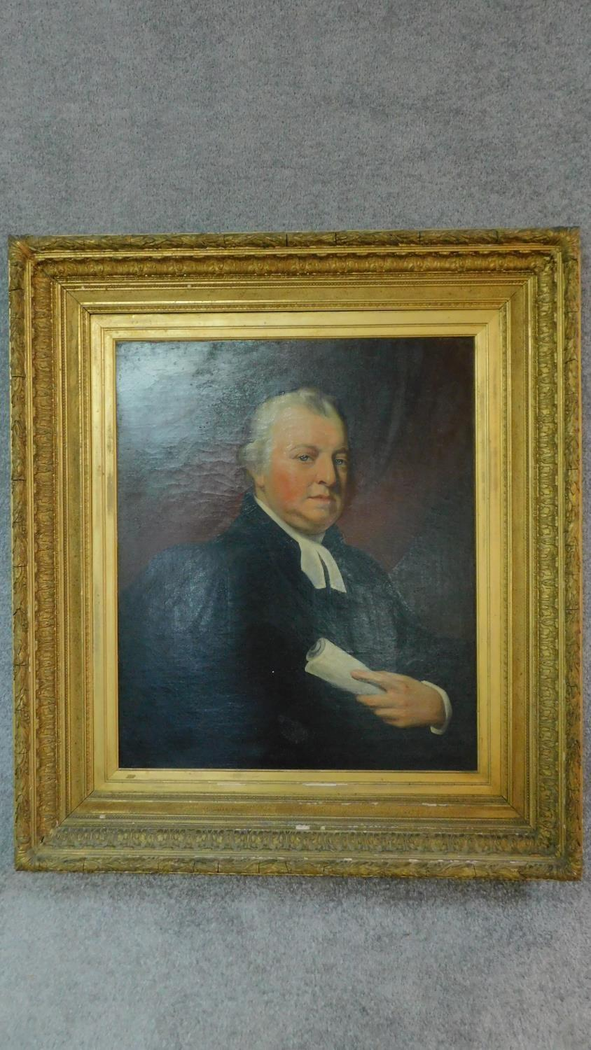 A large 19th century gilt framed oil on canvas, portrait of a gentleman, unsigned. 111x99cm