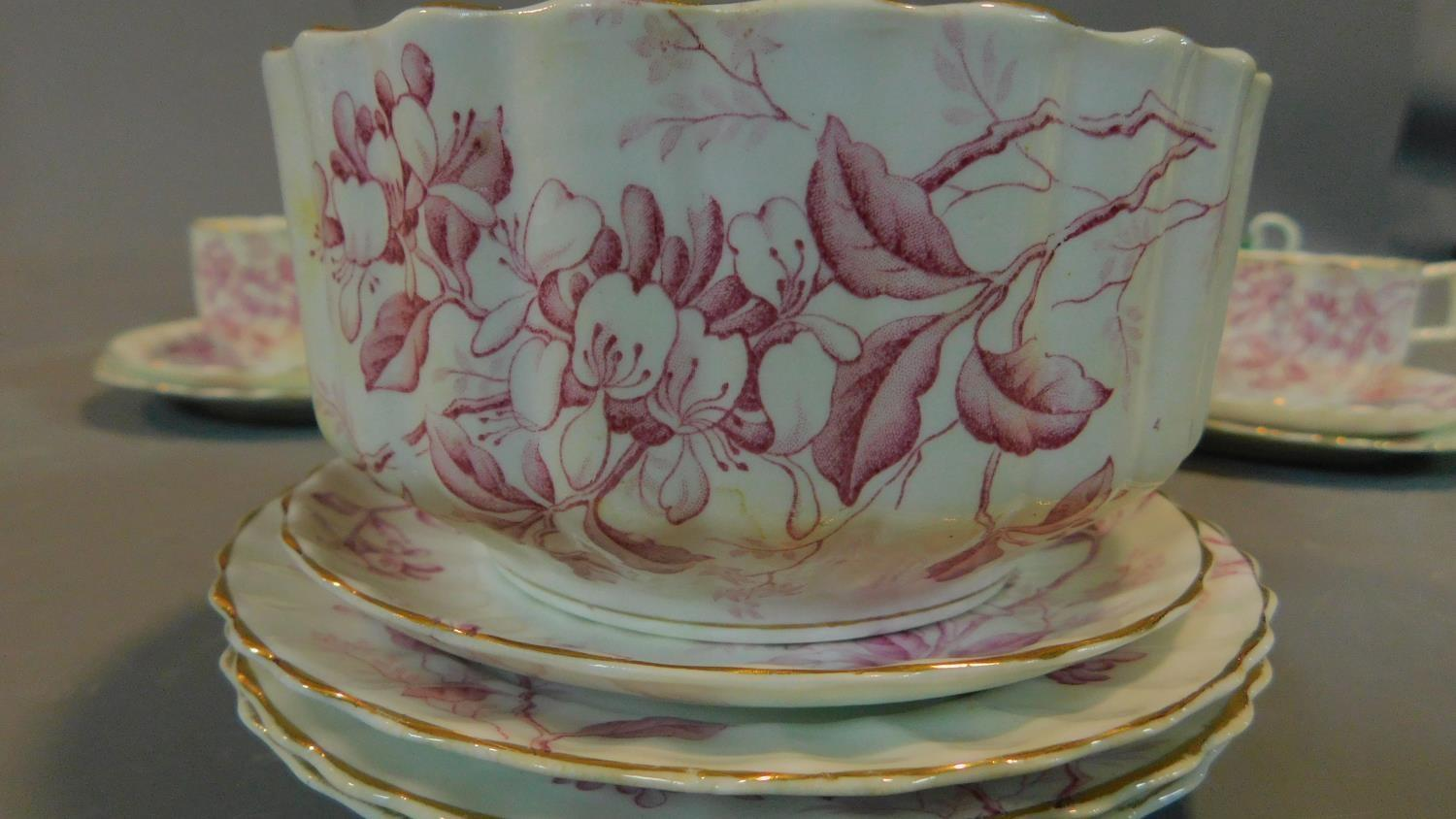 A green floral decorated tea set for six and a seven piece pink floral tea set. - Image 4 of 9