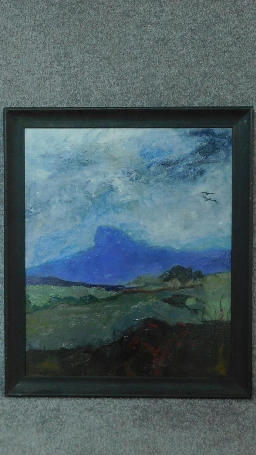 A framed oil on board, expressionist landscape study. 58x68cm
