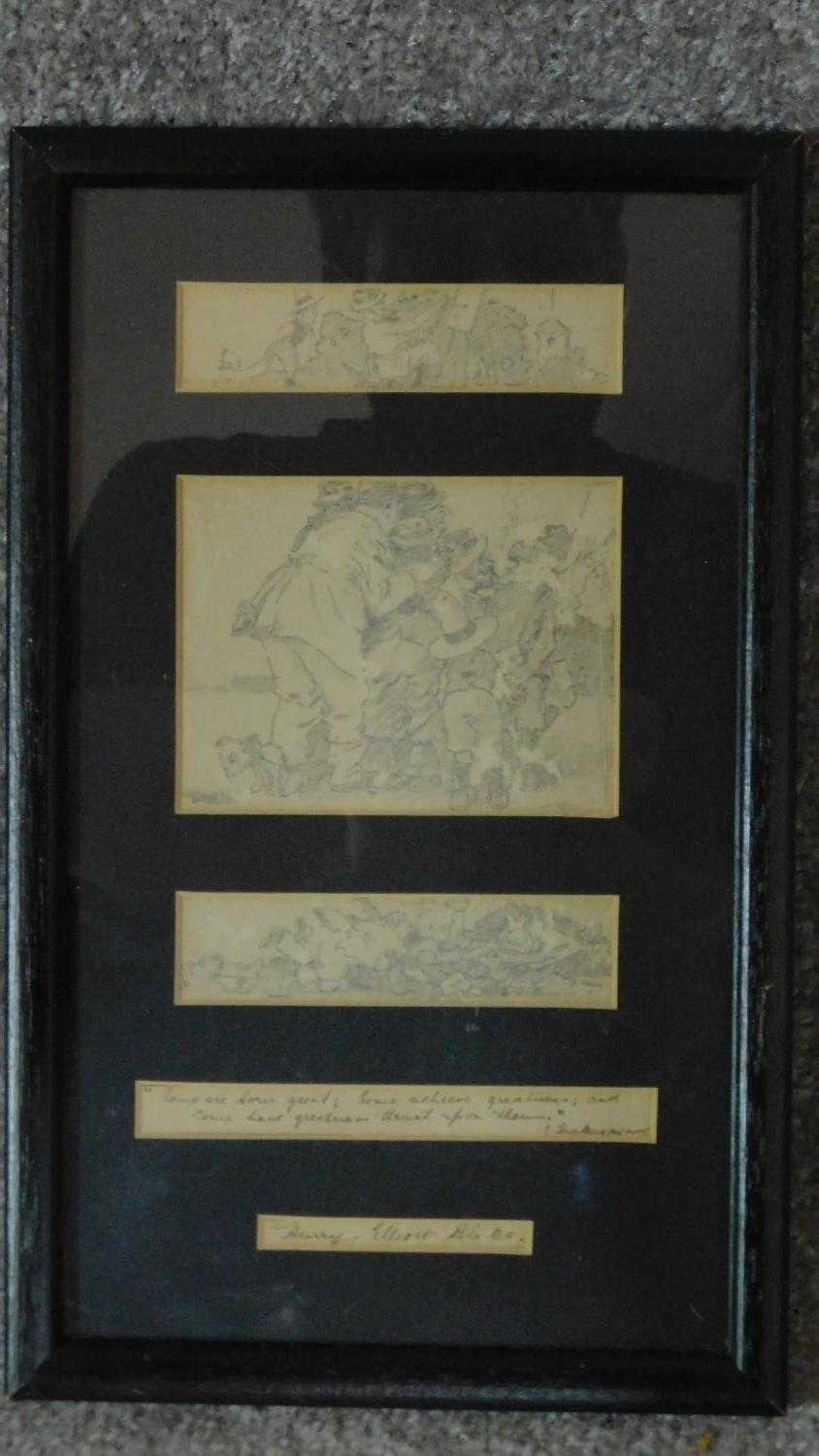 Three pencil sketches framed as one, signed, Henry Elliot Blake. 30x19cm