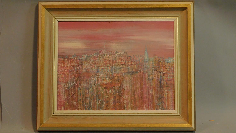 A framed oil on board, modernist landscape, indistinctly signed. 48x58cm