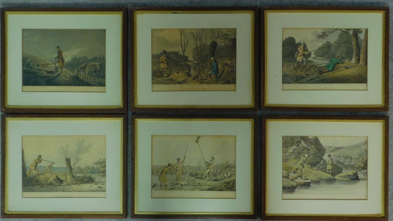 A set of six 19th century oak framed and glazed sporting prints after Henry Alken. 44x36cm