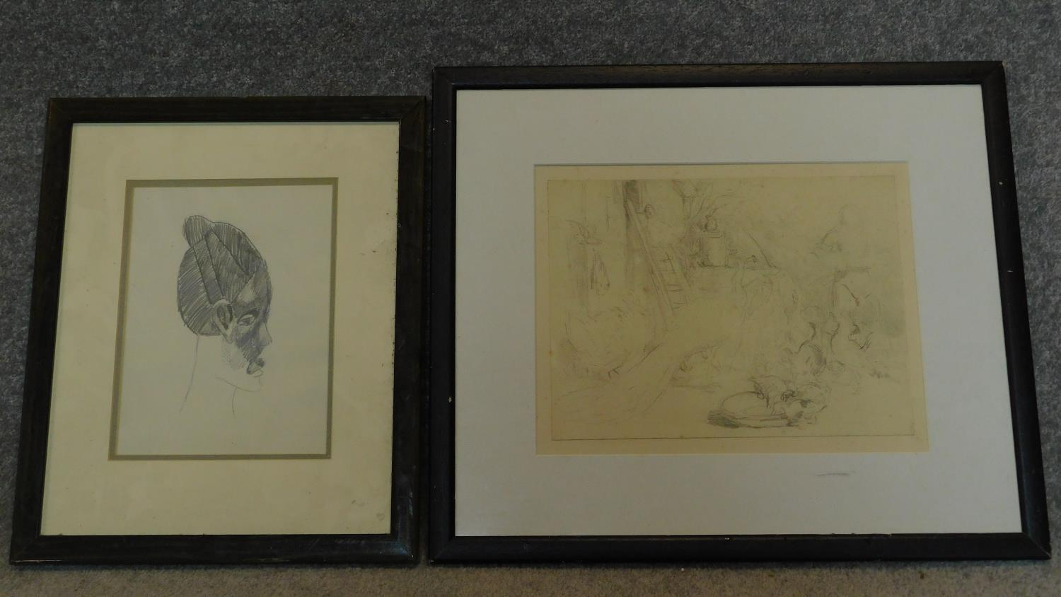 A framed and glazed pencil sketch of a farmyard scene with inscription to the back, (possibly from