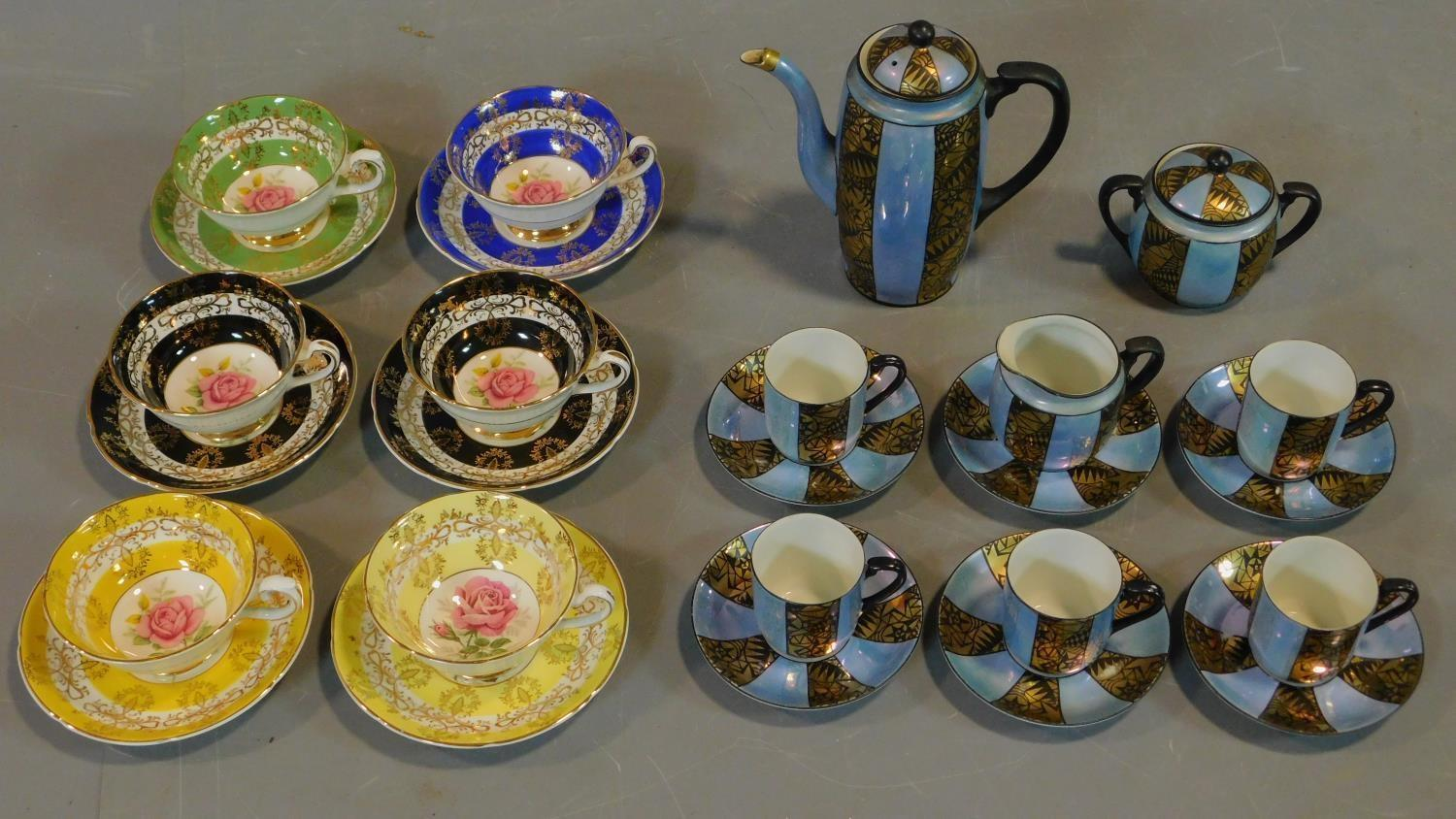A set of six Royal Grafton tea cups and saucers and a Noritake coffee set.